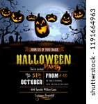 halloween background with... | Shutterstock .eps vector #1191664963
