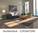 interior of the living room. 3d ... | Shutterstock . vector #1191667240