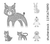 toy animals monochrome icons in ... | Shutterstock .eps vector #1191674890