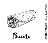 hand drawn sketch style burrito ... | Shutterstock .eps vector #1191686023