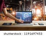 engineer use laptop check and... | Shutterstock . vector #1191697453