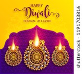 happy diwali festival card with ... | Shutterstock .eps vector #1191703816