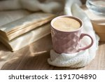 a cup of hot cappuccino coffee... | Shutterstock . vector #1191704890