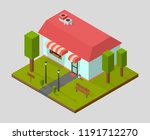 isometric house  shop with... | Shutterstock .eps vector #1191712270