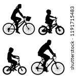 happy family riding bicycle... | Shutterstock .eps vector #1191715483