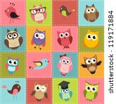 Stock vector colorful patchwork background with owls 119171884