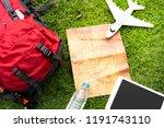 overhead view of traveler's... | Shutterstock . vector #1191743110