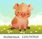 cute little spotted pig sitting ... | Shutterstock .eps vector #1191747019