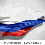 russia flag of silk and world... | Shutterstock . vector #1191752623