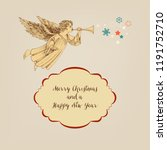 retro christmas card  angel and ... | Shutterstock .eps vector #1191752710