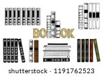 sketch of books. collection of ... | Shutterstock .eps vector #1191762523
