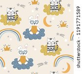 childish seamless pattern with... | Shutterstock .eps vector #1191771589