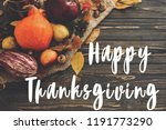 happy thanksgiving text on... | Shutterstock . vector #1191773290