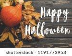 happy halloween text on... | Shutterstock . vector #1191773953