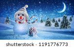happy new year with snowman and ... | Shutterstock . vector #1191776773
