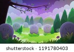 landscape of a graveyard with... | Shutterstock .eps vector #1191780403