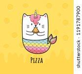 Stock vector cute cat mermaid eating pizza 1191787900