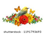 tit bird sits on a branch of... | Shutterstock . vector #1191793693