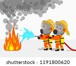 visual cartoon at fireman in... | Shutterstock .eps vector #1191800620