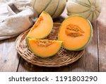 Close Up Of Cantaloupe Melon On ...