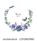 watercolor frame with animals... | Shutterstock . vector #1191803980