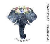 watercolor elephant head... | Shutterstock . vector #1191803983