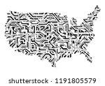 creative usa map as circuit... | Shutterstock .eps vector #1191805579