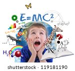 a young boy is looking up at... | Shutterstock . vector #119181190
