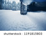 car tires on winter road... | Shutterstock . vector #1191815803