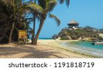 tropical beach with turquoise... | Shutterstock . vector #1191818719