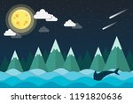 mountain landscape and ocean at ... | Shutterstock .eps vector #1191820636