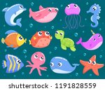 cute sea animals set | Shutterstock .eps vector #1191828559