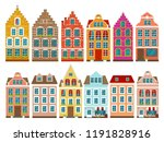 set of european colorful old... | Shutterstock .eps vector #1191828916