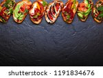 set of assorted bruschetta ... | Shutterstock . vector #1191834676