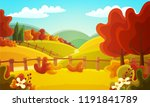 colorful countryside landscape... | Shutterstock .eps vector #1191841789