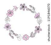 wreath of pink flowers. line... | Shutterstock .eps vector #1191846070