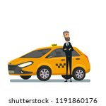 friendly taxi driver at the car.... | Shutterstock .eps vector #1191860176