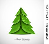 merry christmas card green tree ... | Shutterstock .eps vector #119187148