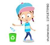 young girl throwing empty...   Shutterstock .eps vector #1191875980