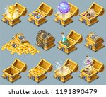 set cartoon wooden isometric... | Shutterstock .eps vector #1191890479