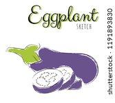 sketch with eggplants. vector... | Shutterstock .eps vector #1191893830