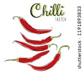 sketch with chilli peppers.... | Shutterstock .eps vector #1191893833