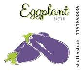 sketch with eggplants. vector... | Shutterstock .eps vector #1191893836