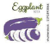 sketch with eggplants. vector... | Shutterstock .eps vector #1191893866