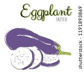 sketch with eggplants. vector... | Shutterstock .eps vector #1191893869