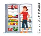 woman opened the refrigerator...   Shutterstock .eps vector #1191898489