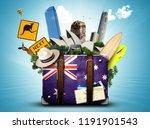 australia  retro suitcase with... | Shutterstock . vector #1191901543