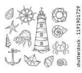 hand drawn vector set of... | Shutterstock .eps vector #1191901729