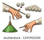 set billiard. cue sticks  balls ... | Shutterstock .eps vector #1191902200
