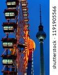 ferris wheel and fernsehturm at ... | Shutterstock . vector #1191905566